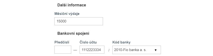 Jak vyplnit žádost o půjčku - bankovní účet